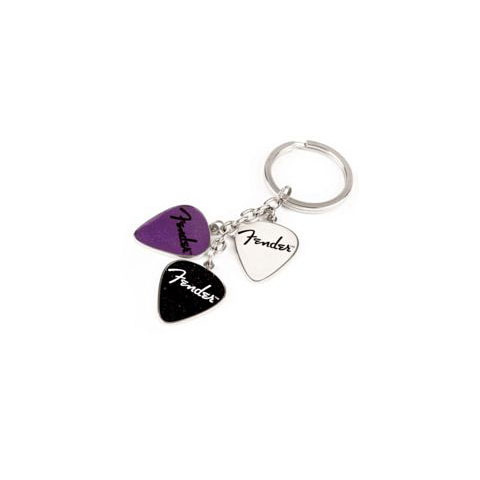 Fender Picks Key Chain, Purp, Blk, Wht