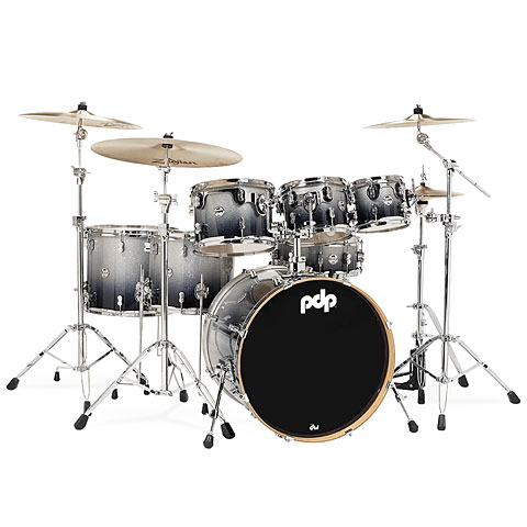 pdp Concept Maple CM7 Silver to Black Sparkle Fade