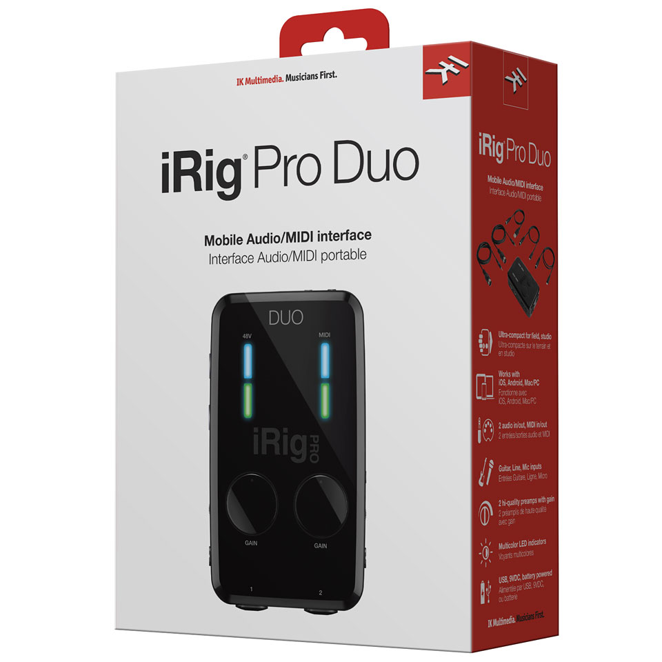 ik multimedia irig pro duo carte son interface audio. Black Bedroom Furniture Sets. Home Design Ideas