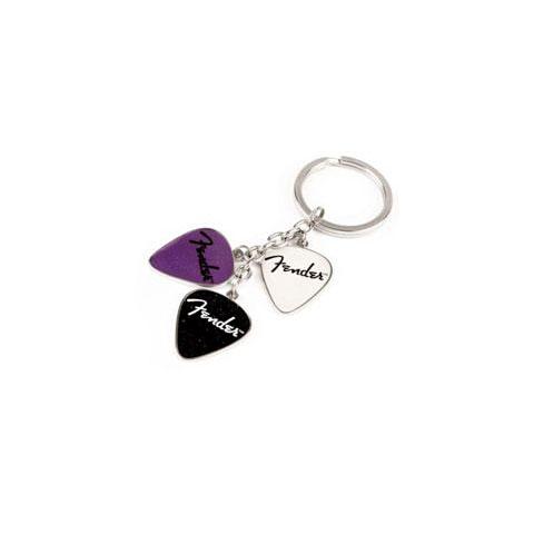 Fender Picks Key Chain, Purp, Blk, Wht