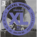 Corde guitare électrique D'Addario EXL115-3D Nickel Wound .011-049